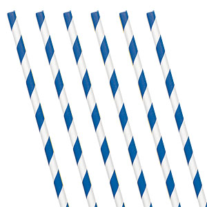 Royal Blue Striped Paper Straw