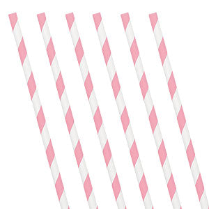Soft Pink Striped Paper Straws