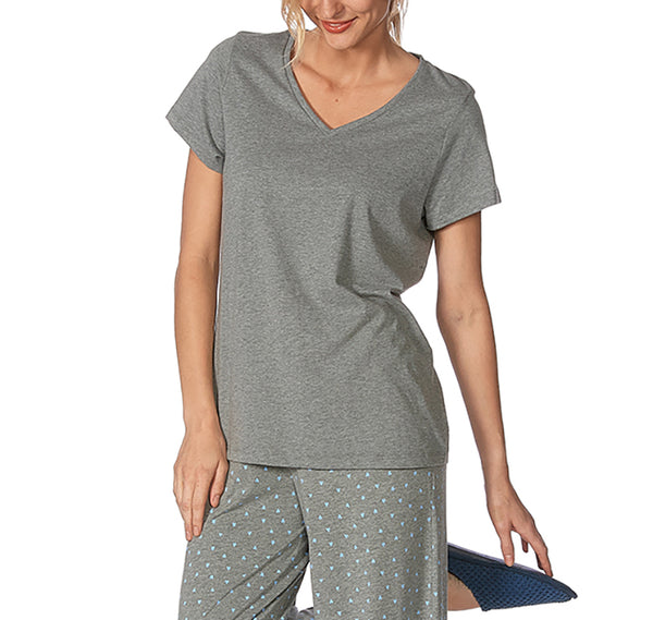 HUE Short Sleeve V-Neck Sleep Tee Shirt