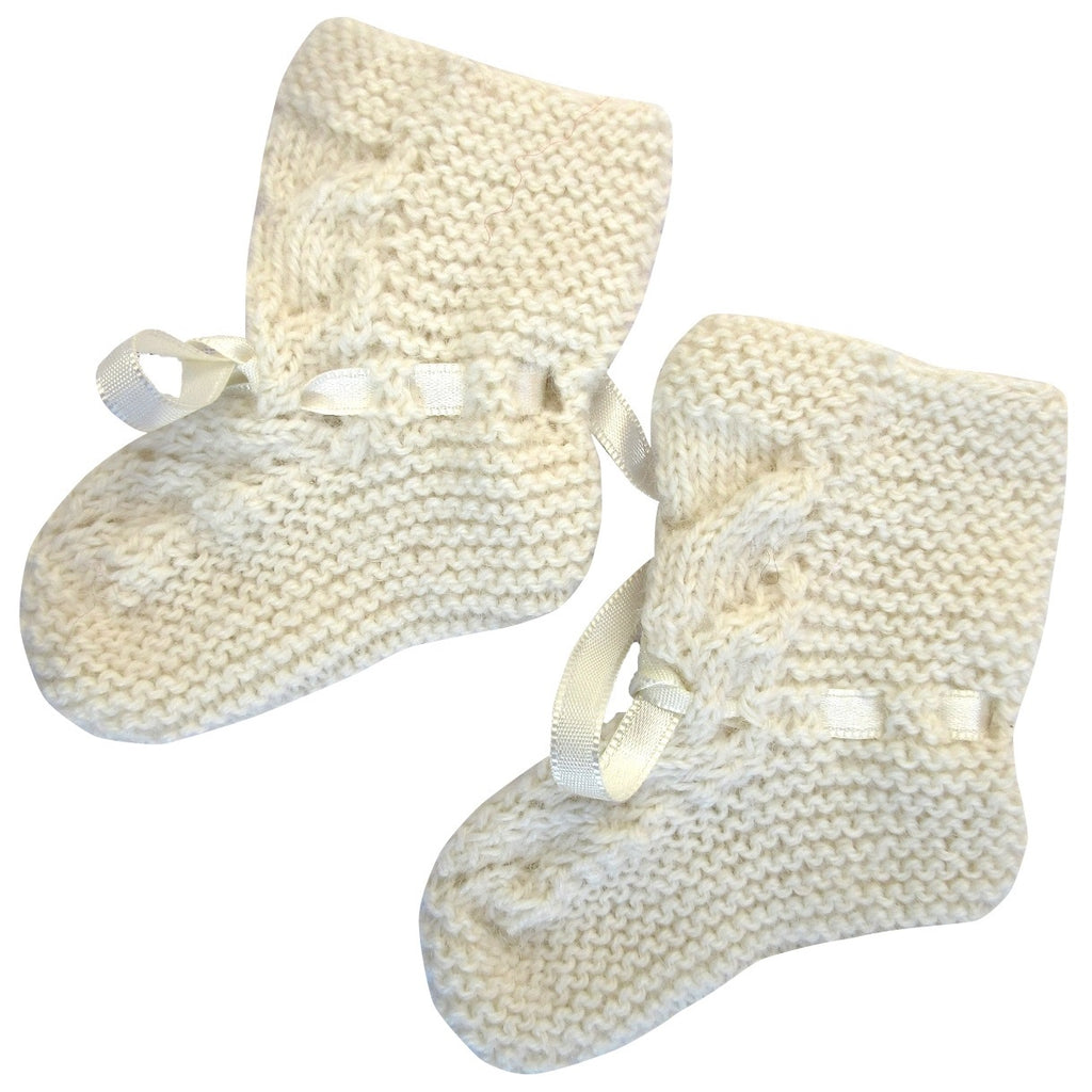 Alpaca, Alpaca Baby Booties, Hand-Knitted Lace Design Baby Booties (BB212), White, Alpaca Products, Hypoallergenic, Apparel, Alpaca Clothing