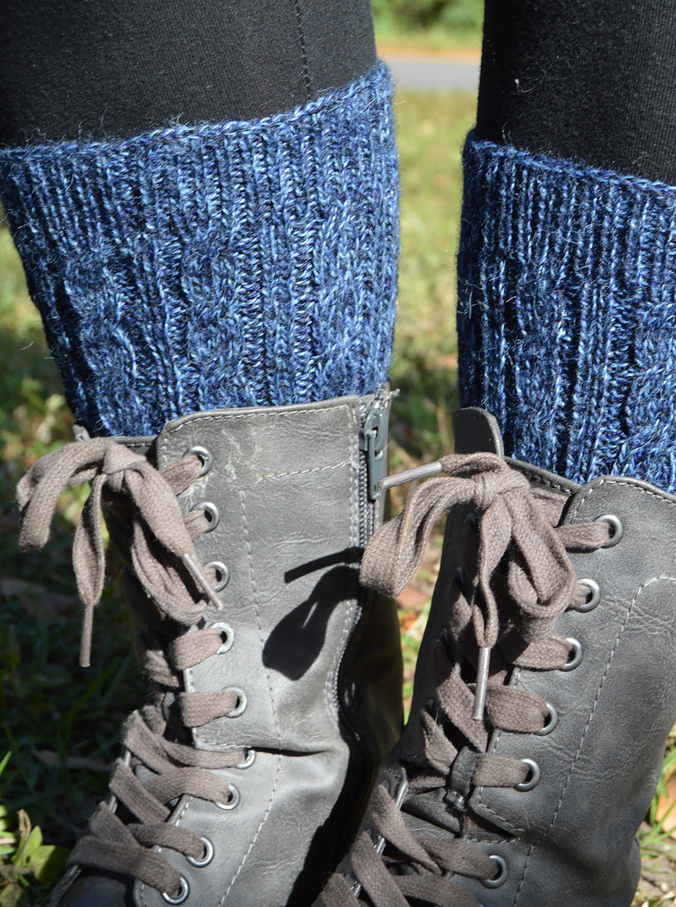 Alpaca, Alpaca Boot Cuffs, Cable Knit Alpaca Blend (BC103), Blue Melange, Alpaca Products, Hypoallergenic, Apparel, Alpaca Clothing