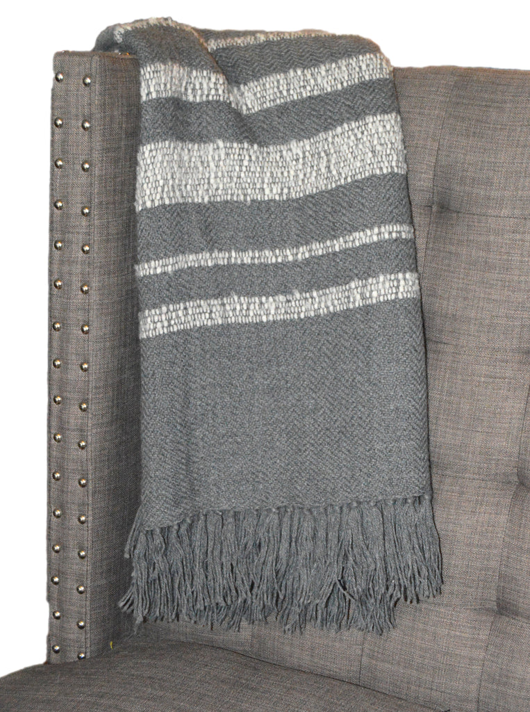 Handwoven Throw, Limited Edition Gray and White Boucle Stripes (BLK304)