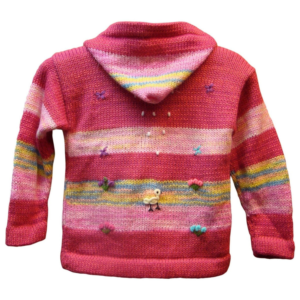 Alpaca, Alpaca Sweater, Pink Hooded Sweater Alpaca Blend Children's (CHS157), Alpaca Products, Hypoallergenic, Apparel, Alpaca Clothing