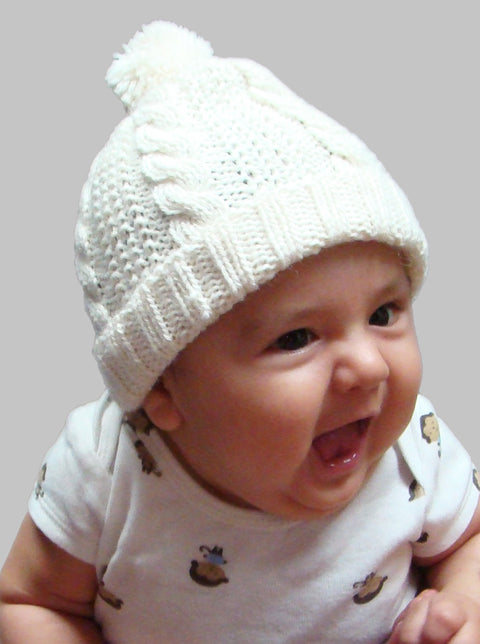 Rope Stitch Baby Hat with Pom Pom top (3 Colors BBH214)