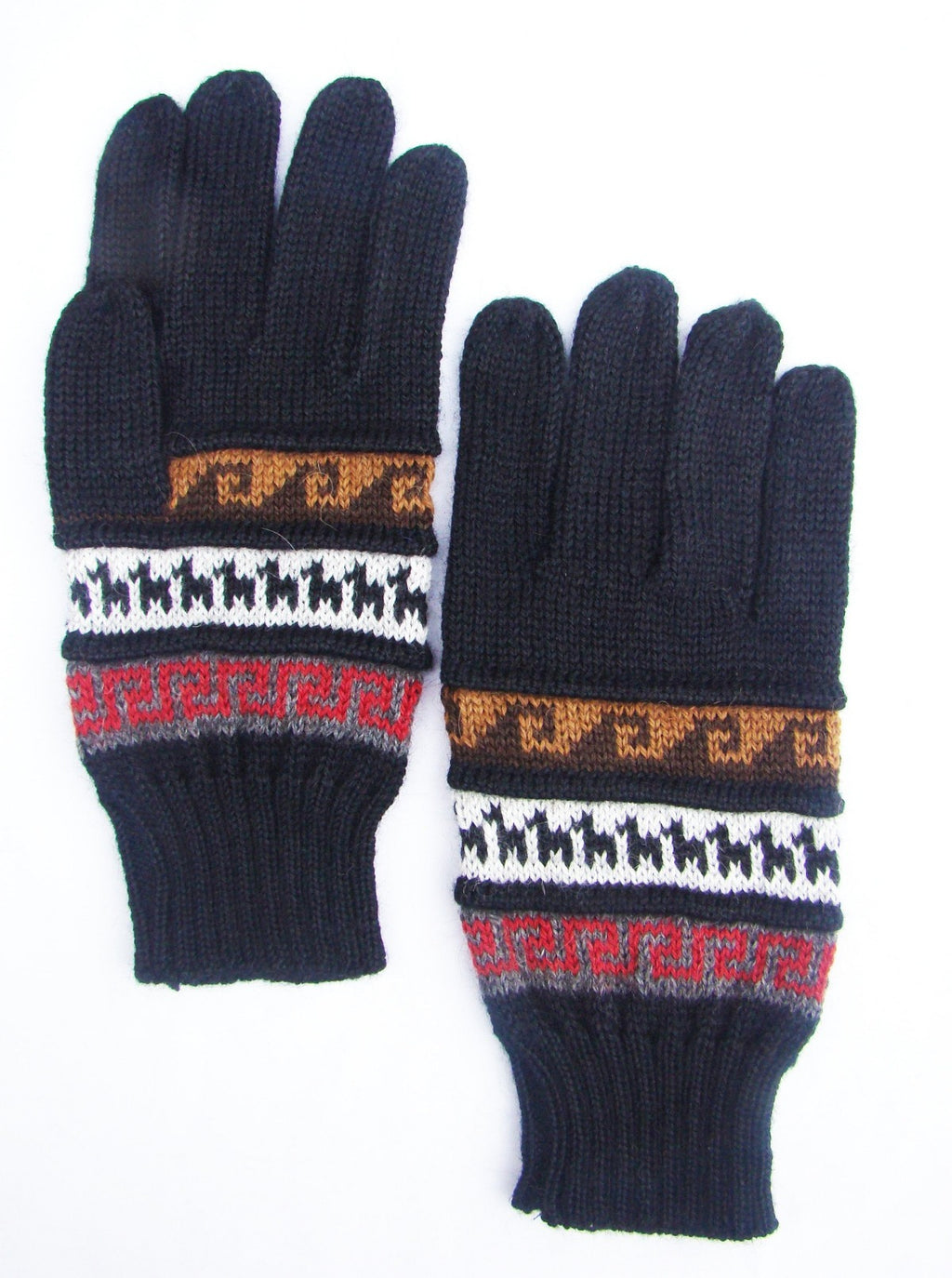 Hand Knitted Alpaca Blend Geometric Design Gloves (7 Colors EDG407)