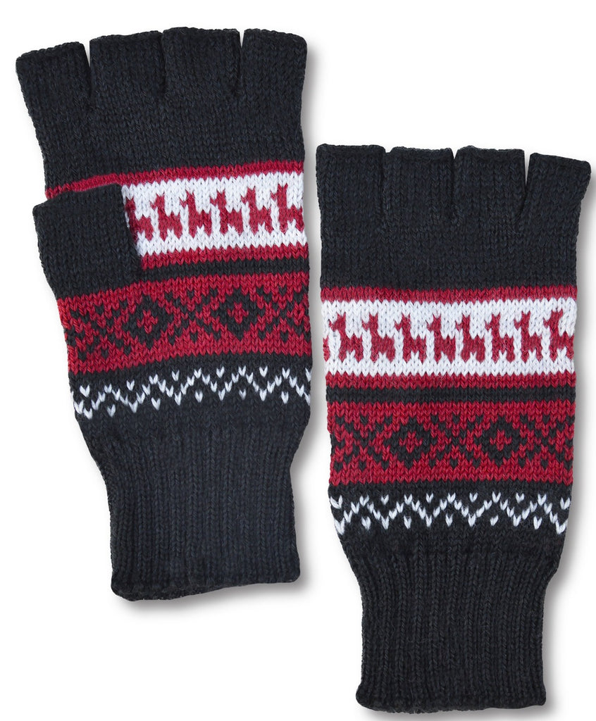Alpaca, Alpaca Gloves, Hand-Knitted Alpaca Blend Geometric Design Fingerless Gloves (EDG408), Alpaca Products, Hypoallergenic, Apparel, Alpaca Clothing