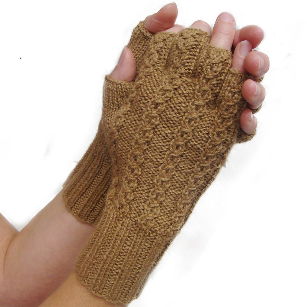 Alpaca, Alpaca Gloves, Baby Alpaca Fleece Hand-knitted Braided Stitch Half Finger Gloves (ELI266), Alpaca Products, Hypoallergenic, Apparel, Alpaca Clothing