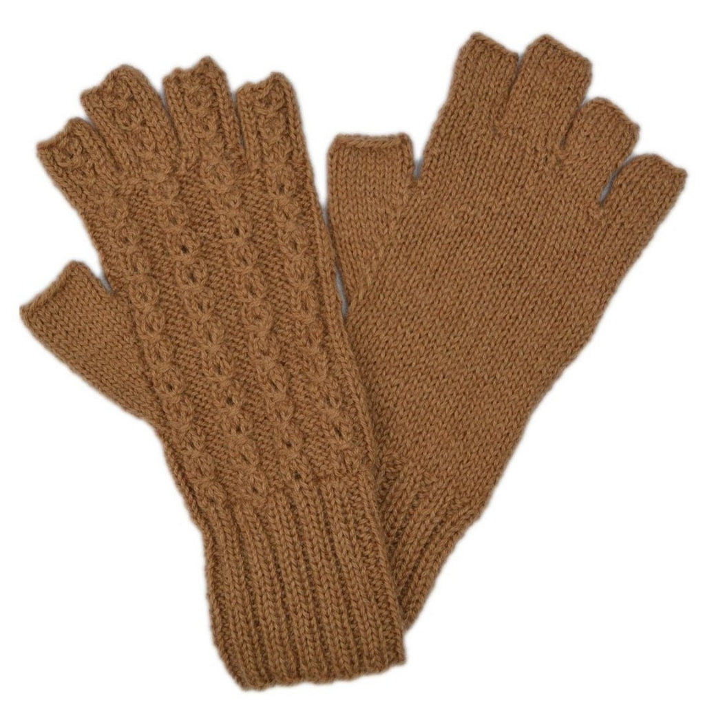 Alpaca, Alpaca Gloves, Baby Alpaca Fleece Hand-knitted Braided Stitch Half Finger Gloves, Camel  (ELI266), Alpaca Products, Hypoallergenic, Apparel, Alpaca Clothing