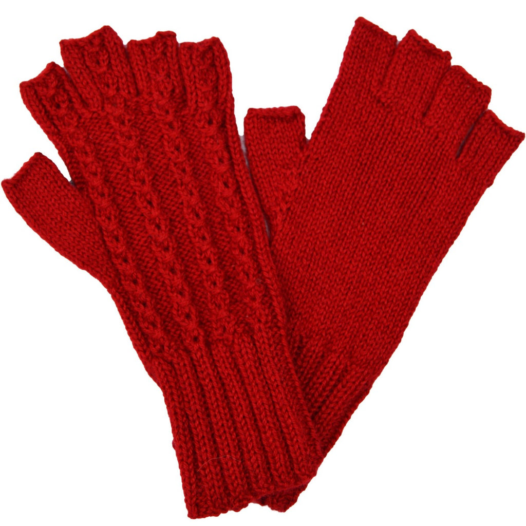Alpaca, Alpaca Gloves, Baby Alpaca Fleece Hand-knitted Braided Stitch Half Finger Gloves, Red (ELI266), Alpaca Products, Hypoallergenic, Apparel, Alpaca Clothing