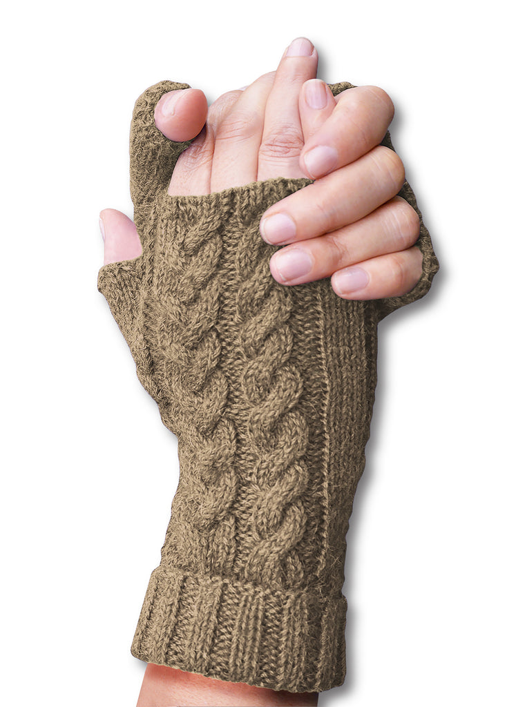 Alpaca, Alpaca Gloves, Baby Alpaca Fleece Hand-Knitted Braided Stitch Fingerless Gloves (ELI267), Alpaca Products, Hypoallergenic, Apparel, Alpaca Clothing