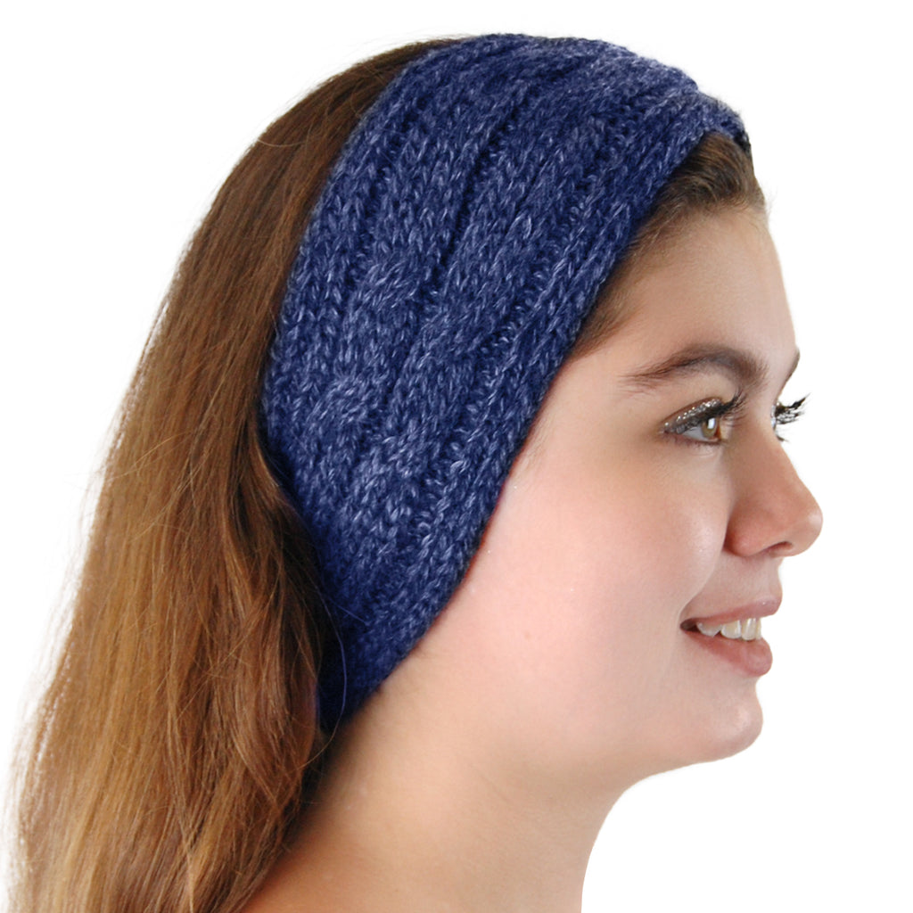 Alpaca, Alpaca Headband, Knitted Cable Design Headband, Hypoallergenic, Blue Melange, Alpaca Products, Apparel, Alpaca Clothing