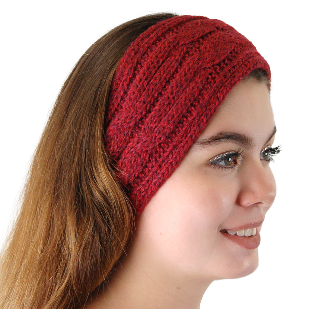 Alpaca, Alpaca Headband, Knitted Cable Design Headband, Hypoallergenic, Burgundy Melange, Alpaca Products, Apparel, Alpaca Clothing