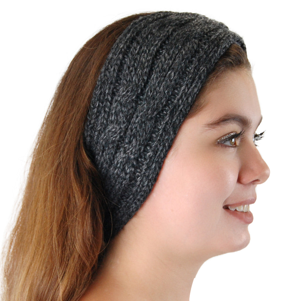 Alpaca, Alpaca Headband, Knitted Cable Design Headband, Hypoallergenic, Gray Melange, Alpaca Products, Apparel, Alpaca Clothing