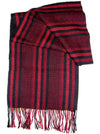Hand Woven 100% Baby Alpaca Red & Black Stripes Scarf (JUL148)