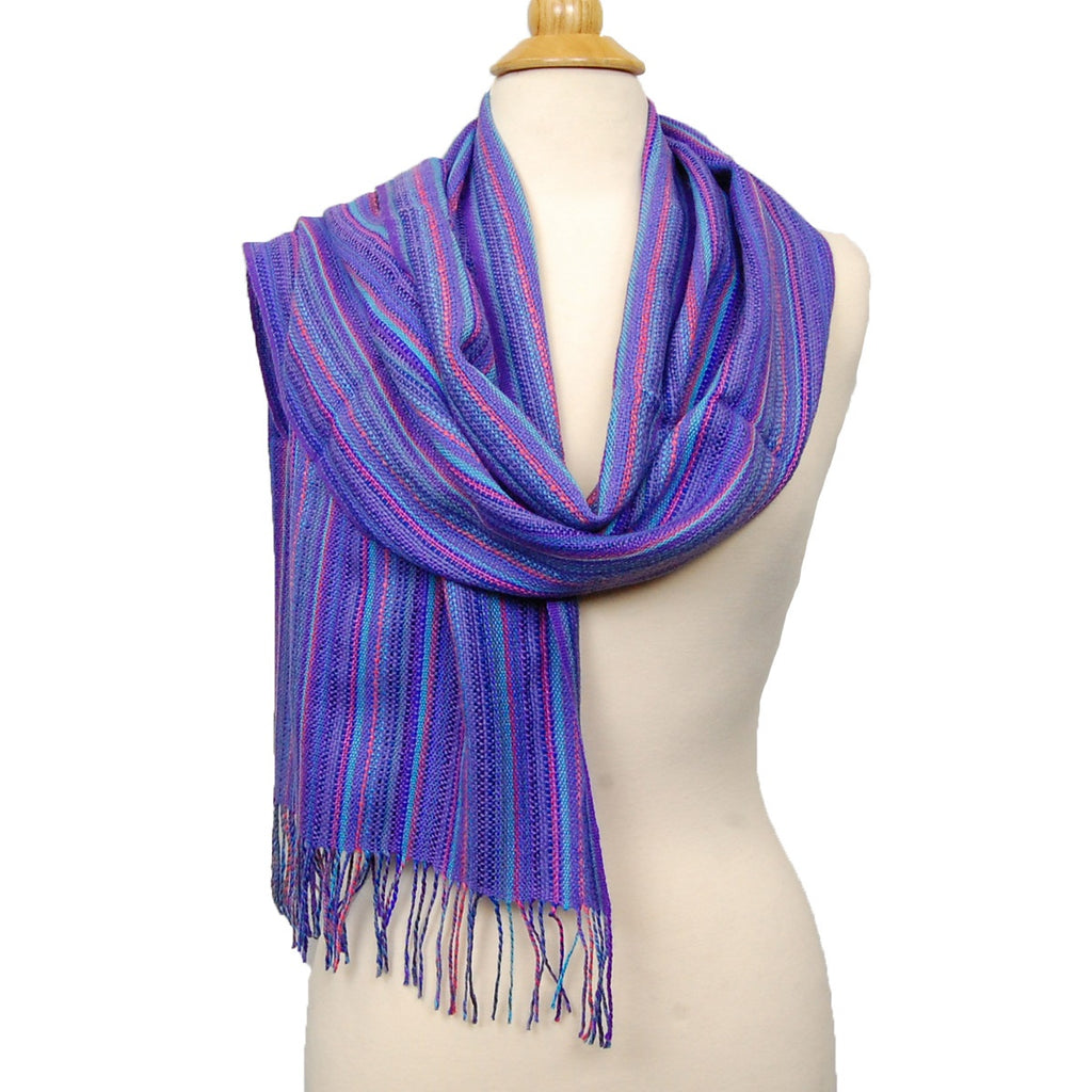 Alpaca, Alpaca Scarf, Baby Alpaca Fleece & Silk Handwoven Scarf Purples Scarf (JUL169), Alpaca Products, Hypoallergenic, Apparel, Alpaca Clothing