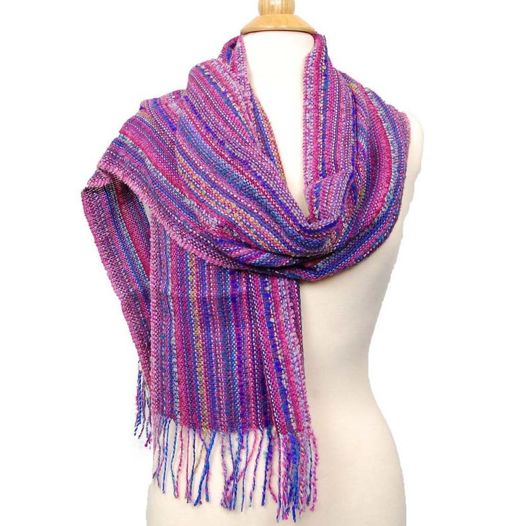 Alpaca, Alpaca Scarf, Baby Alpaca Fleece Blend Handwoven Scarf Multi-Color Boucle (JUL171), Alpaca Products, Hypoallergenic, Apparel, Alpaca Clothing