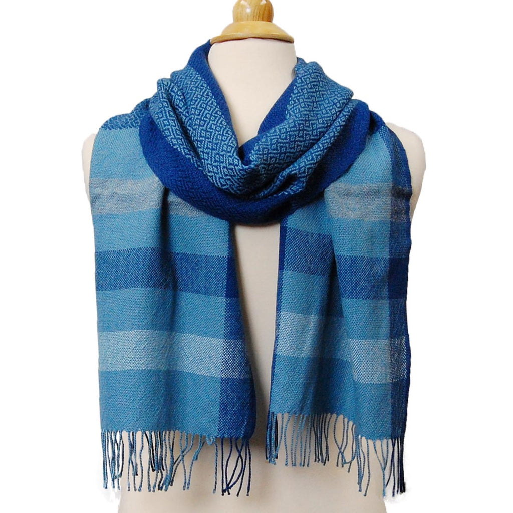 Alpaca, Alpaca Scarf, Baby Alpaca Fleece, Handwoven Scarf Blue Serenity (JUL185), Alpaca Products, Hypoallergenic, Apparel, Alpaca Clothing