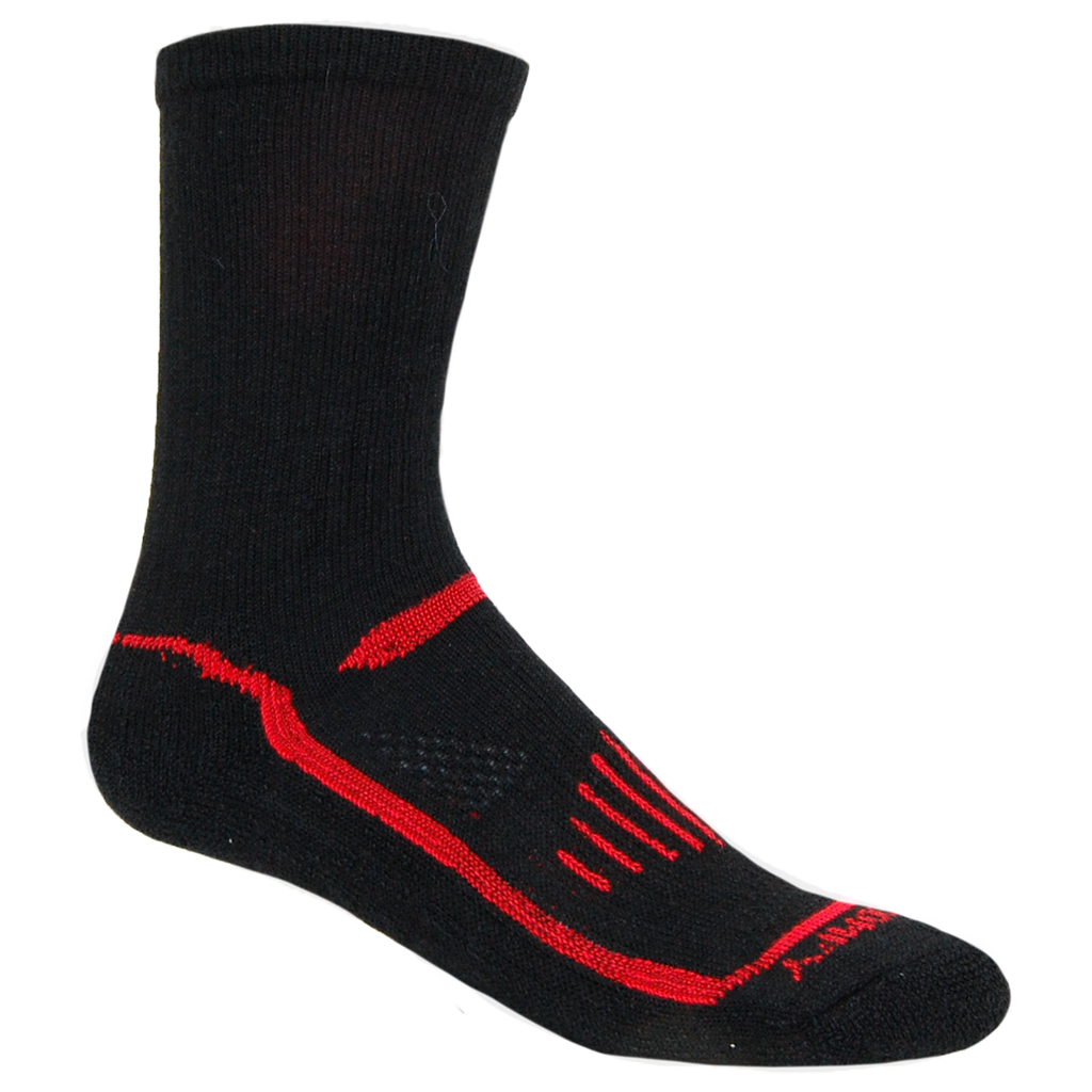 Alpaca, Alpaca Socks, Hiking Alpaca Blend Extreme Sport Crew Length Sock (LC226), Black-Red, Alpaca Products, Hypoallergenic, Apparel, Alpaca Clothing