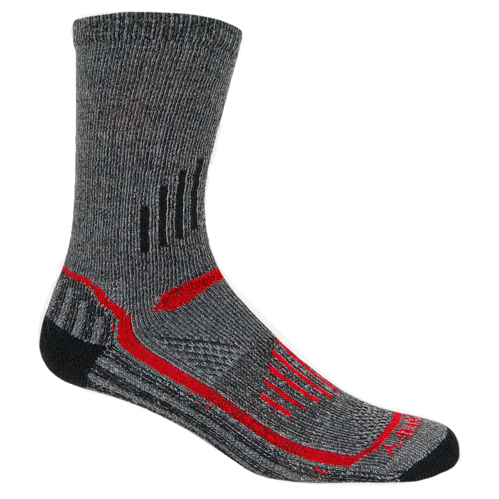 Alpaca, Alpaca Socks, Hiking Alpaca Blend Extreme Sport Crew Length Sock (LC226), Gray-Red, Alpaca Products, Hypoallergenic, Apparel, Alpaca Clothing