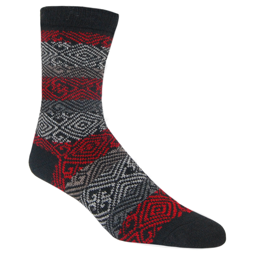 Alpaca, Alpaca Socks, Dress Alpaca Blend Sock Nordic Design (LC232), Black, Grey, Red, Winter Socks, Hypoallergenic, Apparel, Alpaca Clothing