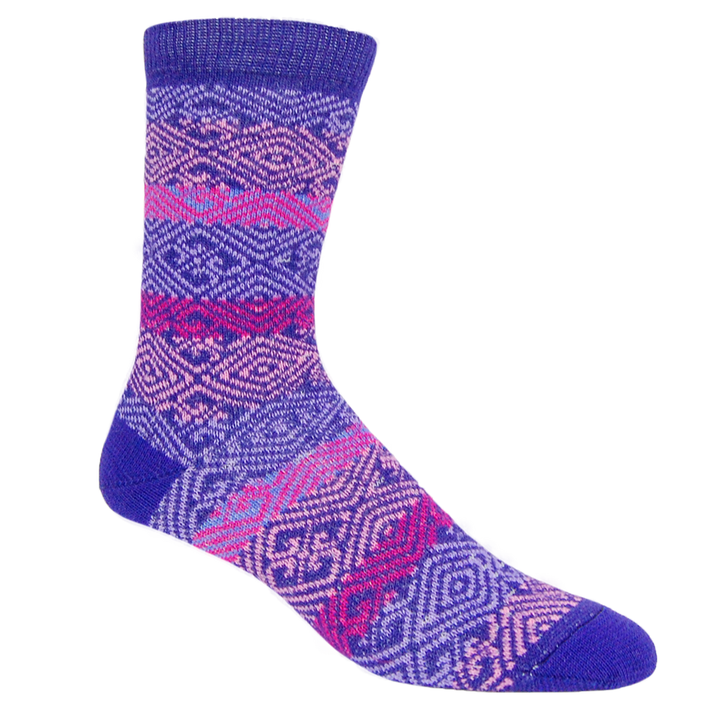 Alpaca, Alpaca Socks, Dress Alpaca Blend Sock Nordic Design (LC232), Purple Multi-Colored, Winter Socks, Hypoallergenic, Apparel, Alpaca Clothing