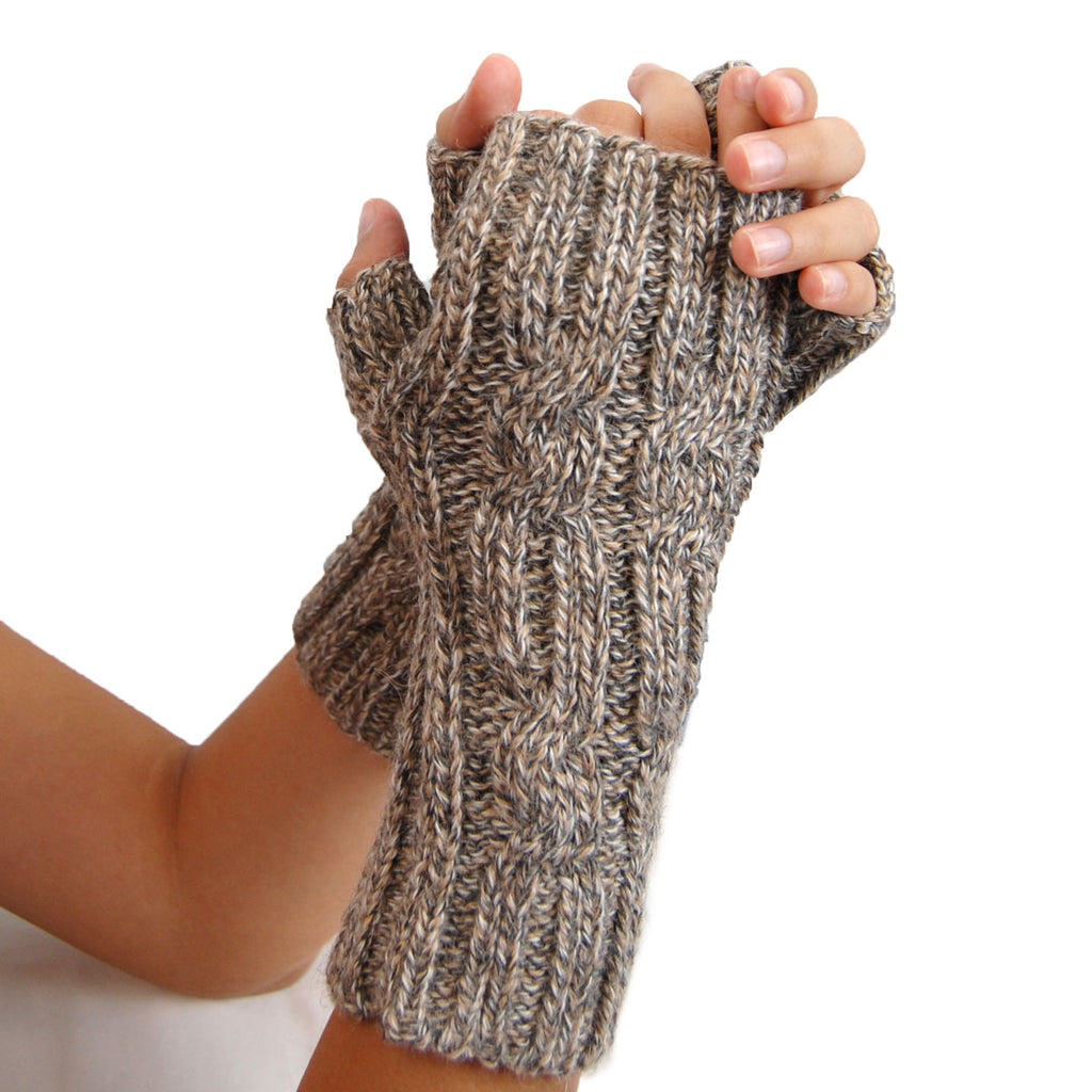 Alpaca, Alpaca Gloves, hand-knitted-alpaca-blend-cable-design-fingerless-gloves, Blue Melange, Alpaca Products, Hypoallergenic, Apparel, Alpaca Clothing