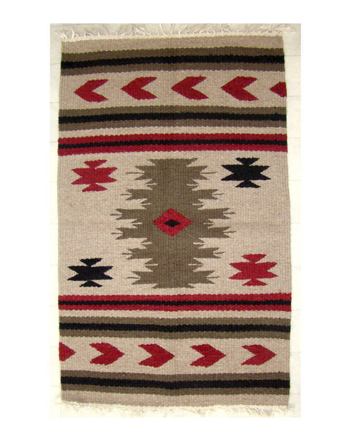 Navajo Arrow Beige Design Hand Woven 24 x 40in Rug (AL139)