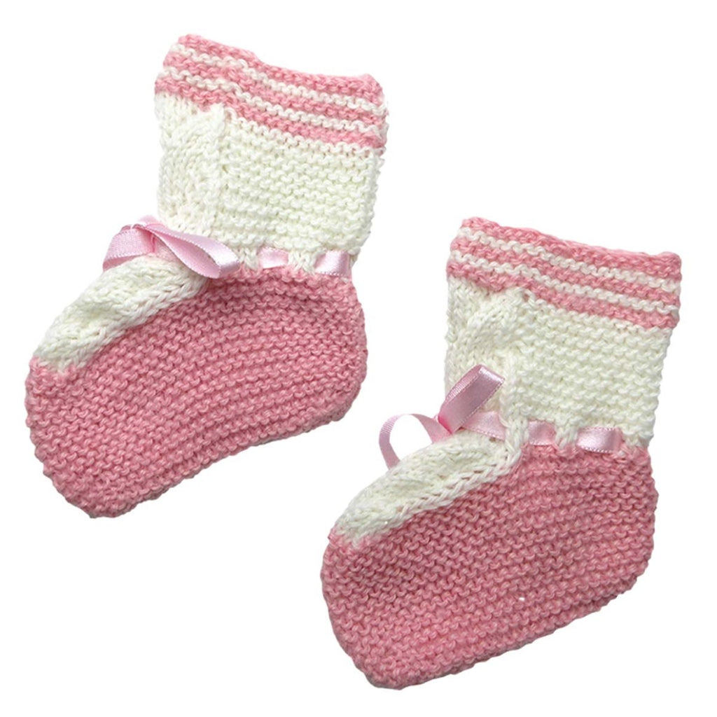 Alpaca, Alpaca Baby Booties, Hand-Knitted Lace Design Baby Booties (BB212), Pink, Alpaca Products, Hypoallergenic, Apparel, Alpaca Clothing