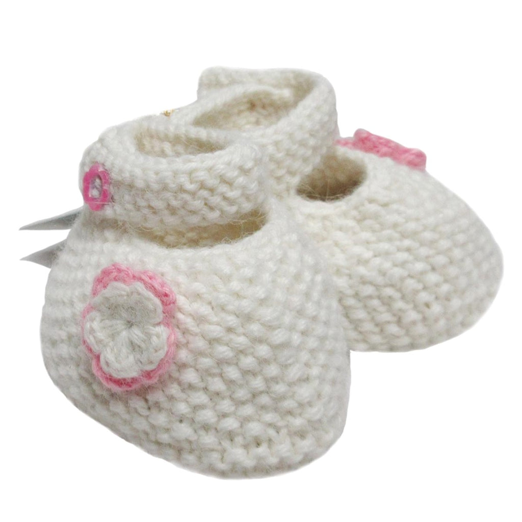 Alpaca, Alpaca Baby Booties, Hand Knitted Shoe Design Baby Booties White with Flowers (BB221), Alpaca Products, Hypoallergenic, Apparel, Alpaca Clothing