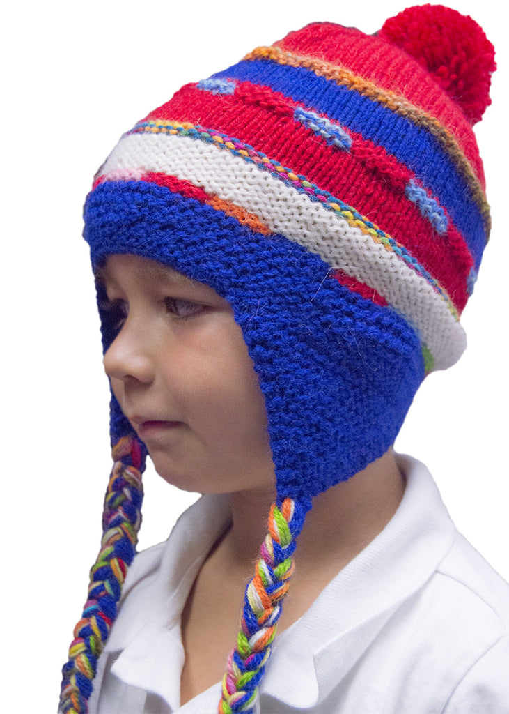 Alpaca, Alpaca Hats, Chullo Hat Hand-Knitted Children's Striped (CH101), Alpaca Products, Hypoallergenic, Apparel, Alpaca Clothing