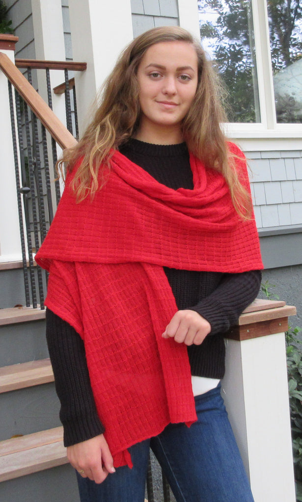Alpaca, Alpaca Shawl, Baby Alpaca Fleece Square Stitch Shawl (SHW154), Alpaca Products, Hypoallergenic, Apparel, Alpaca Clothing