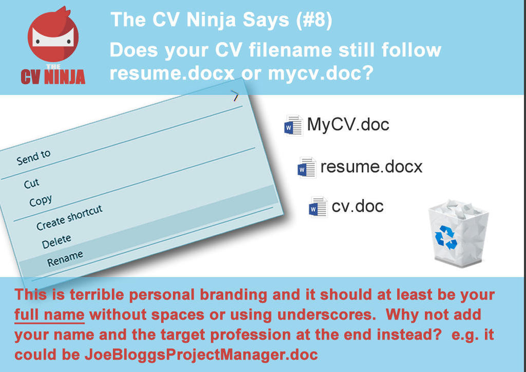 The CV Ninja says #8: Does your CV filename still follow resume.docx o