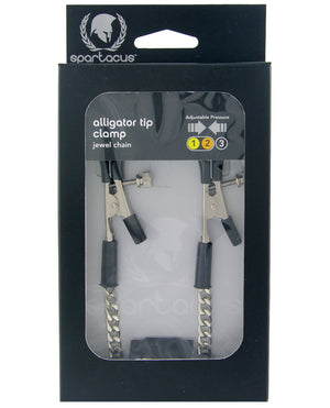 Spartacus Adjustable Alligator Nipple Clamps w/Silver Chain