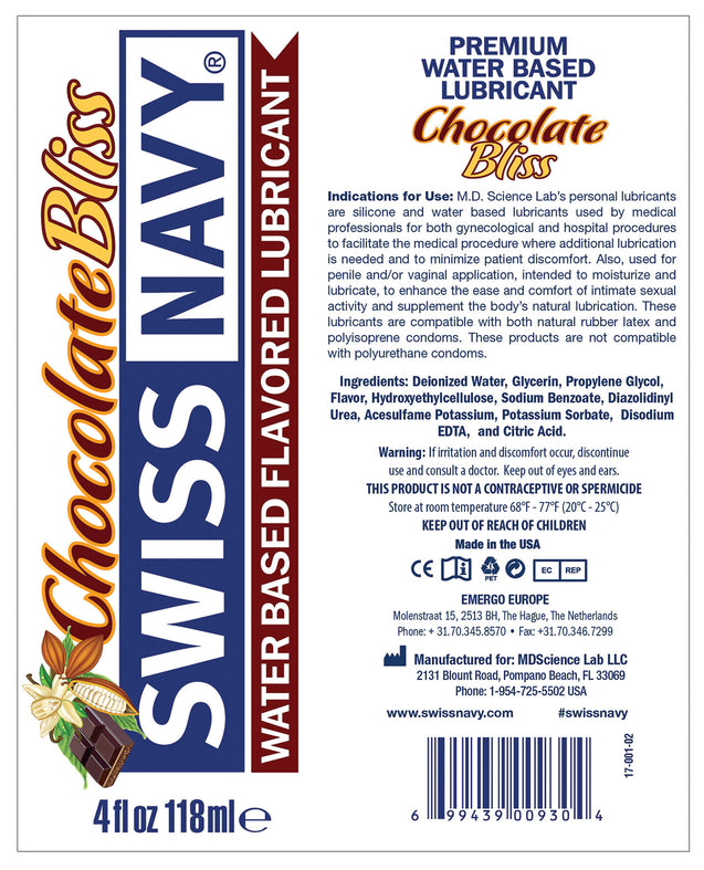 Swiss Navy Flavors - 4 oz Chocolate Bliss