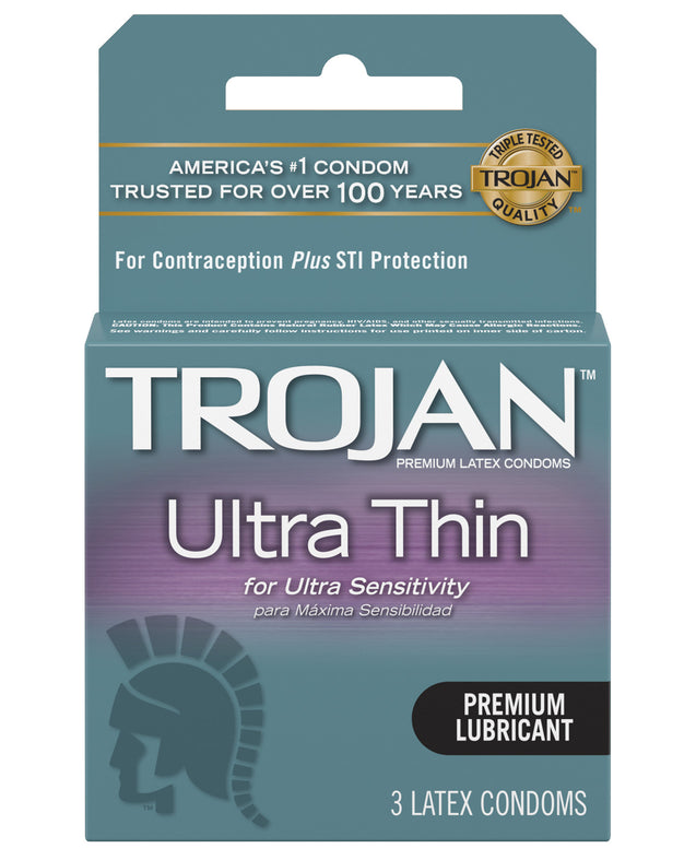Trojan Ultra Thin Lubricated Condoms - Box of 3