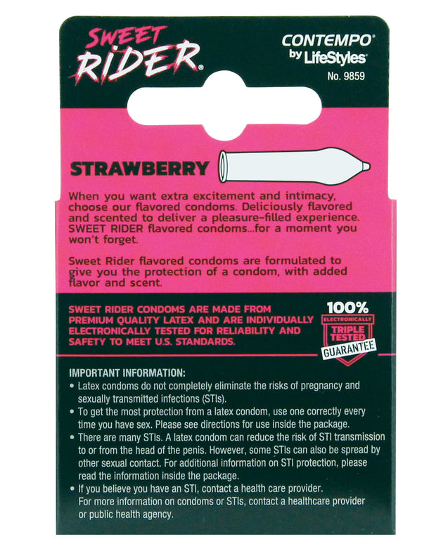 Sweet Rider Condoms - Strawberry Pack of 3