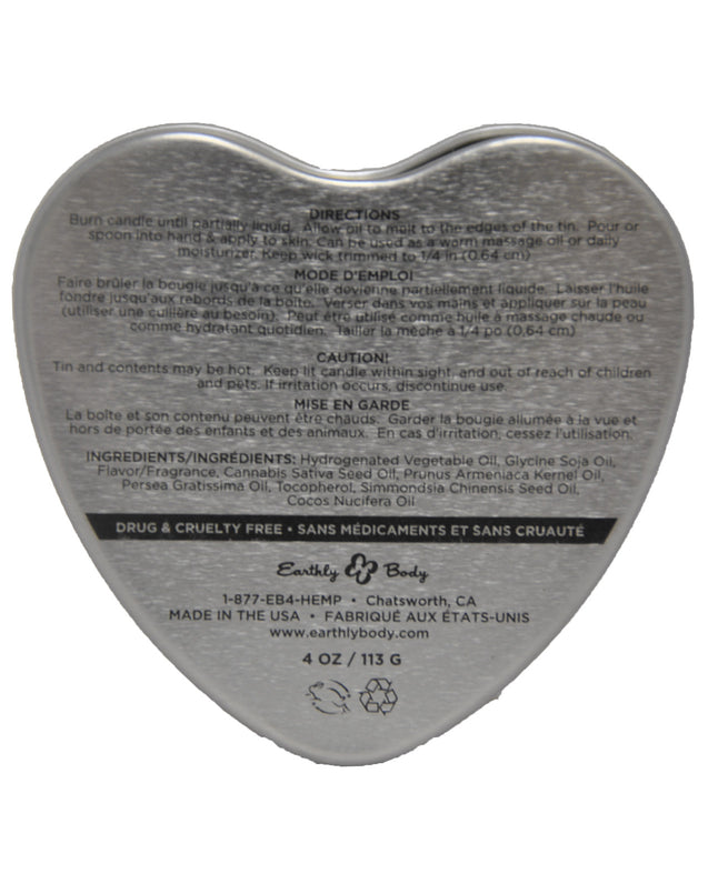Earthly Body Suntouched Hemp Edible Candle - 4.7 oz Heart Tin Mint