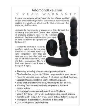 Adam $ Eve Eve's Warming Trusting Prostate Probe - Black