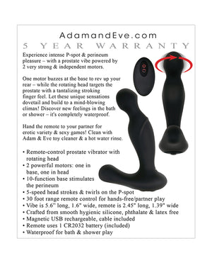 Adam & Eve Adam's Rotating P Spot Massager - Black