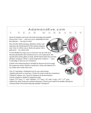 Adam & Eve Pink Heart Gem Anal Plug Set