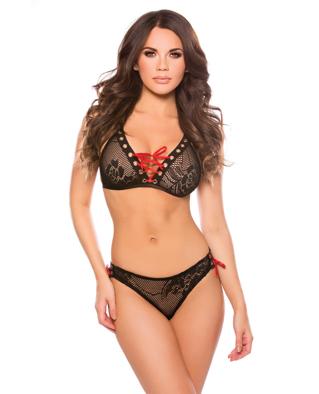 Kitten Tara Bralette Set Black O/S