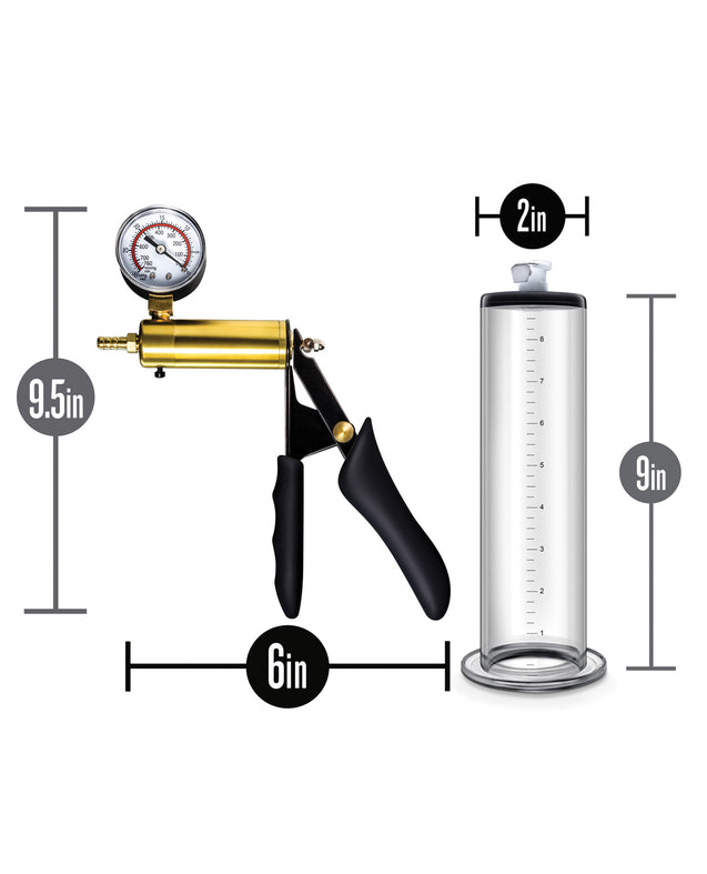 Blush Performance VX6 Vacuum Penis Pump w/Brass Pistol & Pressure Gauge - Clear