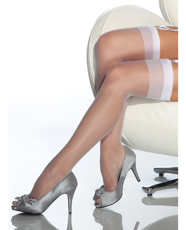 Sheer Thigh High Stocking - White