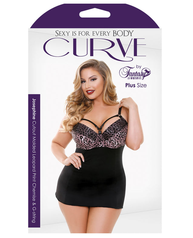 Curve Nene Cutout Molded Leopard Print Chemise w/G-String - Rose Leopard