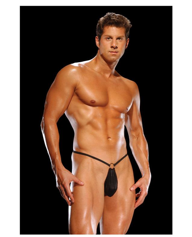 Male Power G-String w/Front Ring Black O/S