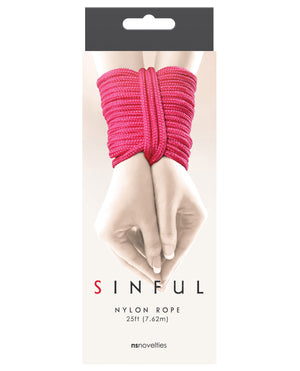 Sinful 25' Nylon Rope - Pink