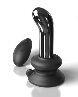 Icicles No. 84 Hand Blown Glass Vibrating Butt Plug w/Remote - Black