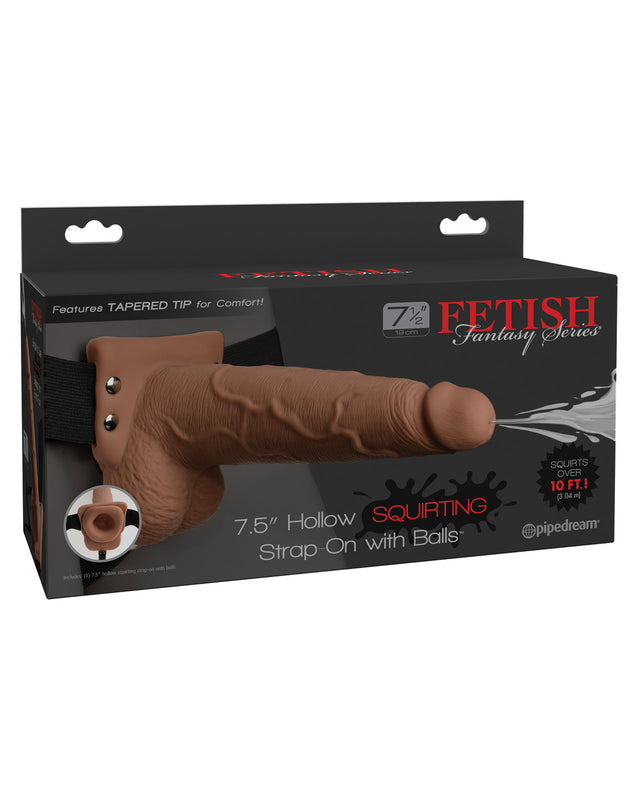 "Fetish Fantasy Series 7.5"" Hollow Squirting Strap On w/Balls - Tan"
