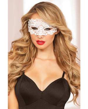 Lace Eye Mask w/Satin Ribbon Ties White O/S