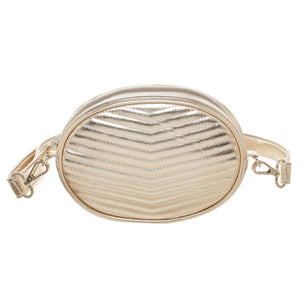 GOLD CHEVRON QUILT ELLIPSE BELT BAG